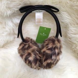 🆕 Kate Spade faux fur leopard earmuffs with bow